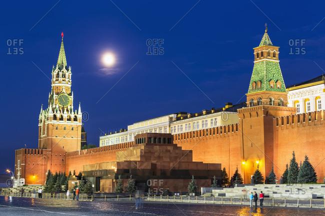 View to Spasskaya Tower, Lenin Mausoleum, Kremlin Senate and Kremlin wall by night, Moscow