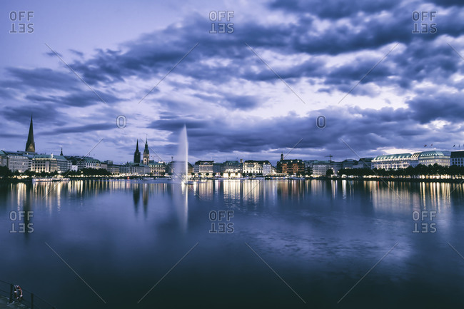 Inner Alster and Alster fountain in the evening, Hamburg