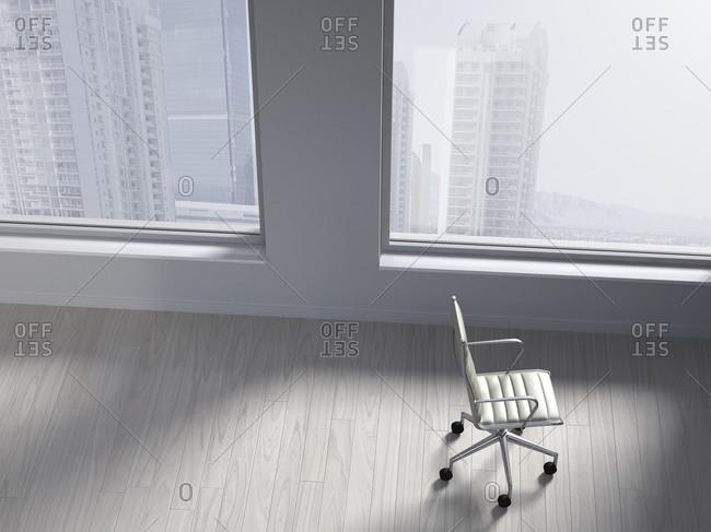 Office chair in an empty office, 3D Rendering