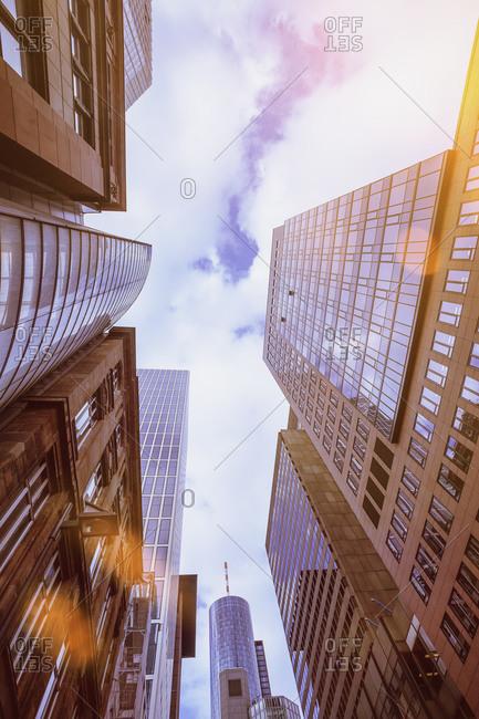 High-rise buildings against the sun