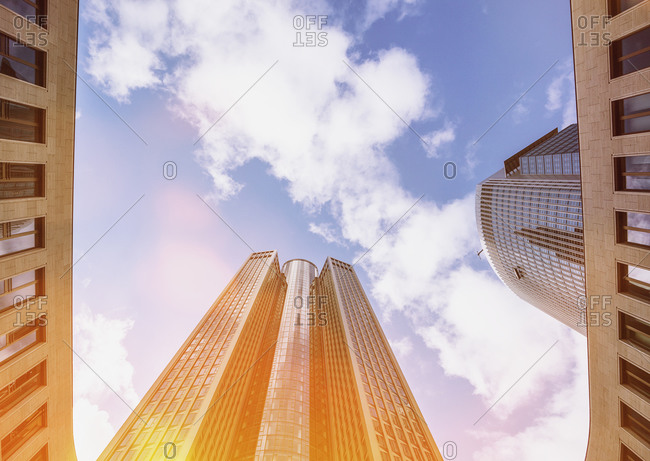 Office towers against the sun