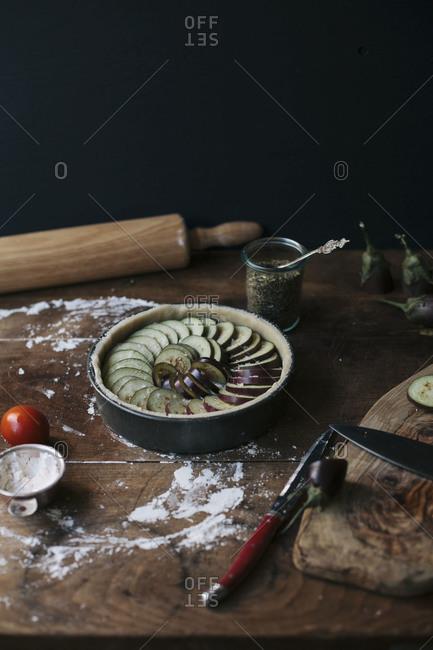 Aubergine and ricotta tart before baking