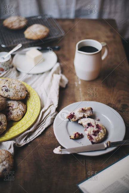 Cranberry scone with butter