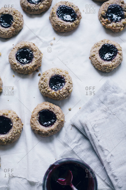 Thumbprint cookies with boysenberry jam