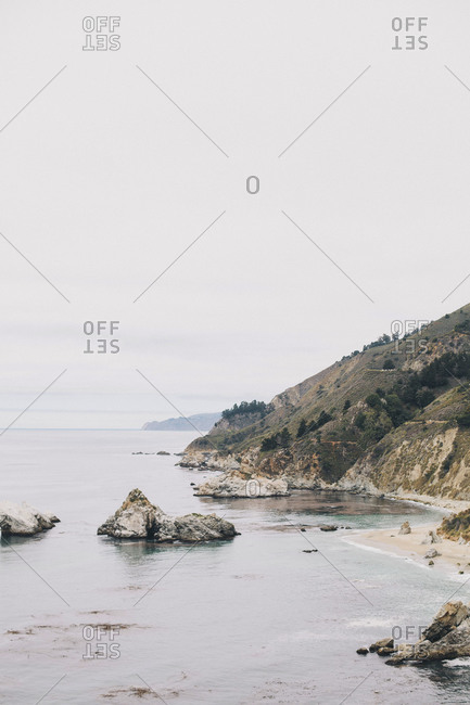 Rocky coastline in California
