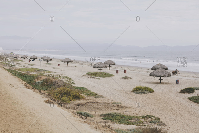 Beach in Ensenada, Mexico on an overcast day