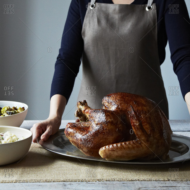 Close up of woman serving a Thanksgiving turkey