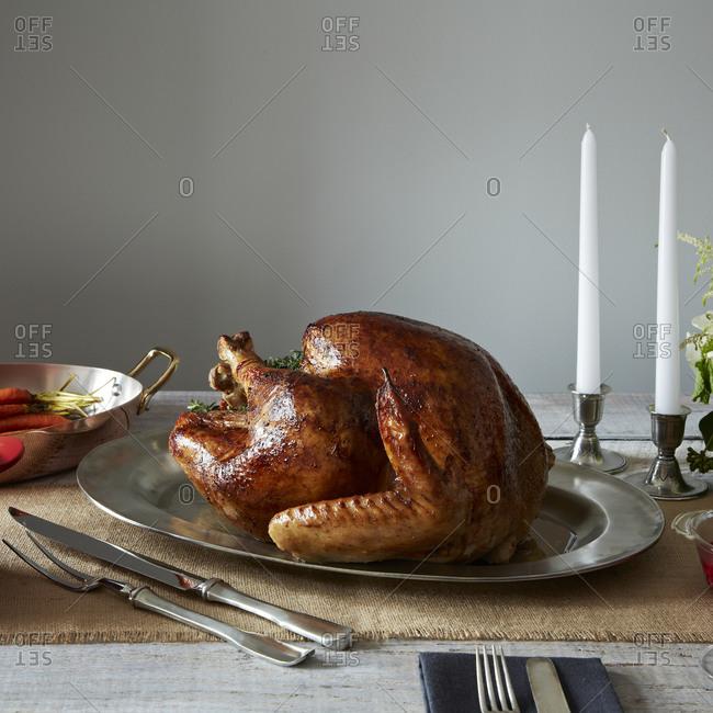 Thanksgiving turkey on a silver platter
