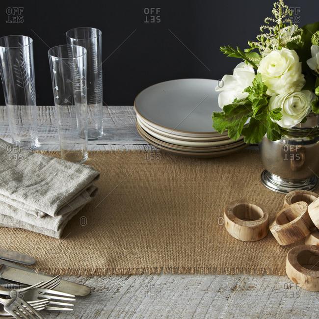 Dinnerware on wooden table