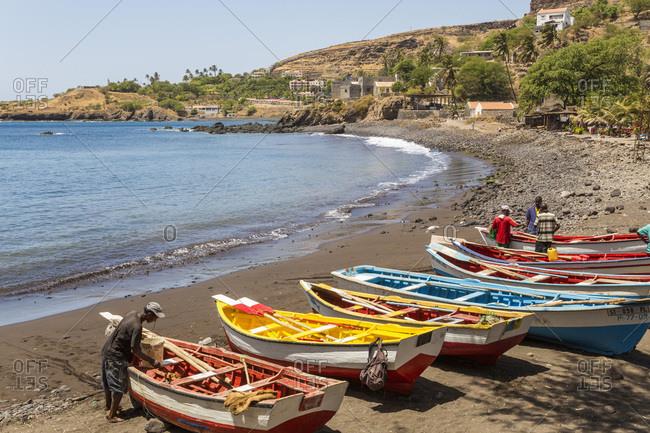 Cidade Velha, Santiago Island, Cape Verde - March 9, 2013: Fishing boats on beach