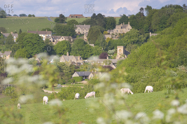 View of Snowhill from the meadow, located in Gloucestershire, United Kingdom