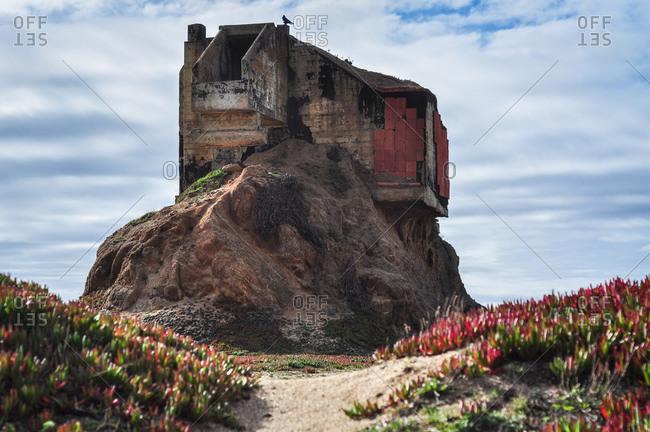 Abandoned naval turret on the California coastline