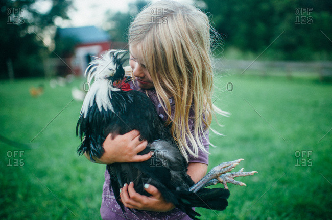 Young girl holding a Polish rooster
