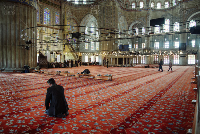 Istanbul, Turkey - February 11, 2014: Interior of the Sultan Ahmed Mosque