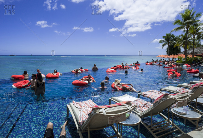 Waikiki beach, Hawaii - August 4, 2012: Infinity pool on Waikiki beach, Hawaii