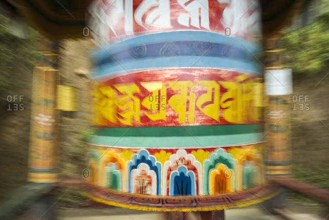 Close up of a spinning prayer wheel