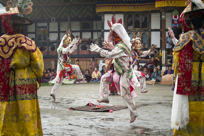 Bumthang, Bhutan, South Asia - September 15, 2013: Performance at a Religious festival in Bhutan