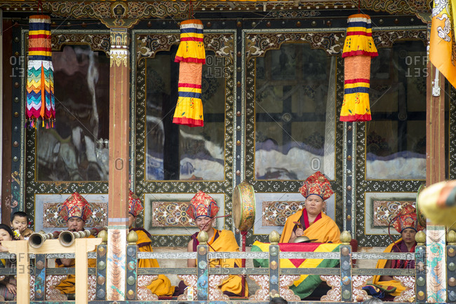 Bumthang, Bhutan, South Asia - September 15, 2013: Monks officiating at a Religious festival in Bhutan