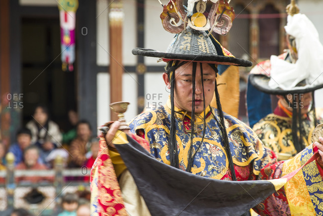 Bumthang, Bhutan, South Asia - September 16, 2013: Man officiating on a Religious festival in Bhutan