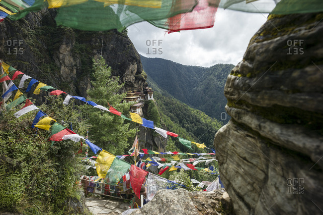 Prayer flags at the Tiger's Nest in Bhutan