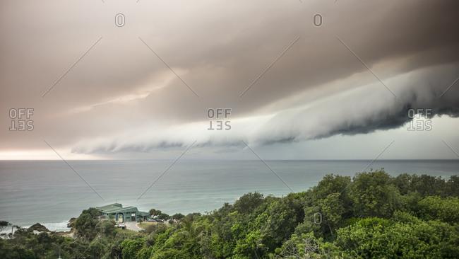 Bushfire smoke hovers over Stradbroke Island, Australia