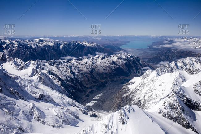 Snow capped mountains around Tasman glacier in New Zealand