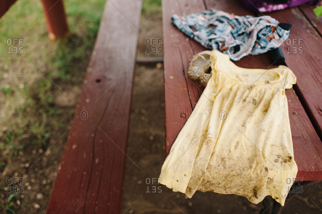 Dirty clothes on a wooden table