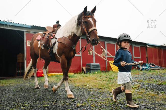 Little girl leading a horse in a ranch