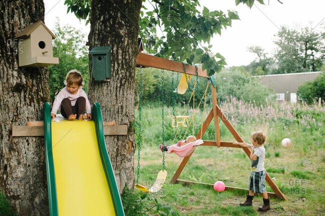 Children playing in the backyard
