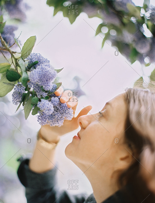 A woman pulling blue flowers towards her to inhale the scent.