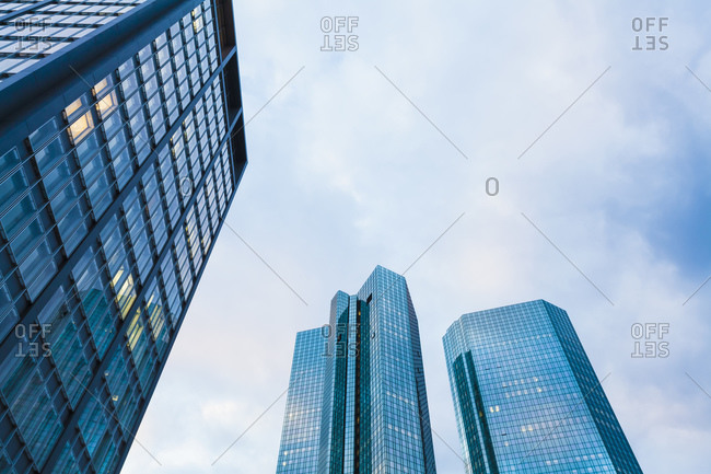 View to facades of modern office buildings from below