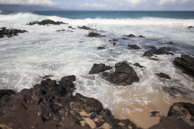 Volcanic coastline in Maui, Hawaii