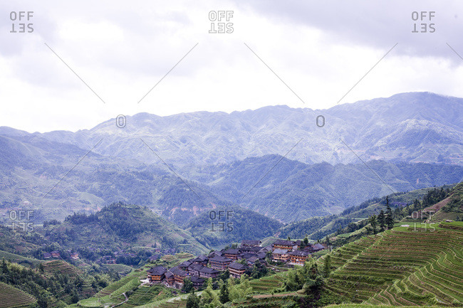 View of a village in Longsheng, China