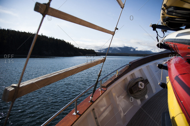 Traveling by boat on a lake in the Glacier Bay National Park