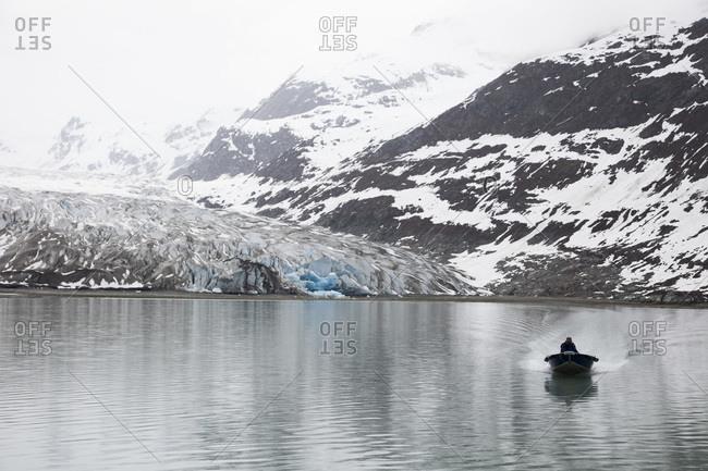 Motorboat on the water in Glacier Bay National Park, Alaska