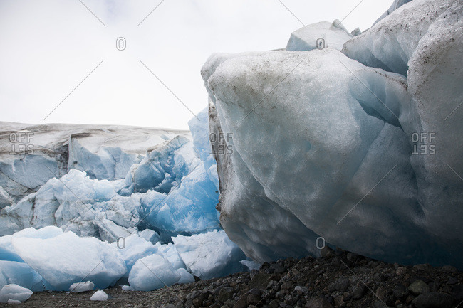 Close up of chunks of ice braking off a glacier in Glacier Bay National Park, Alaska