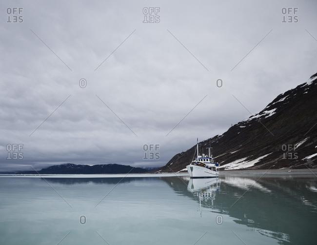 Boat on the water in the Glacier Bay National Park, Alaska
