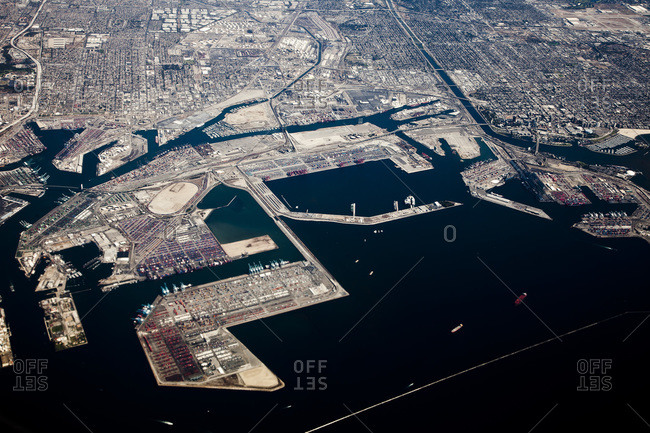Aerial view of the port of Long Beach, California