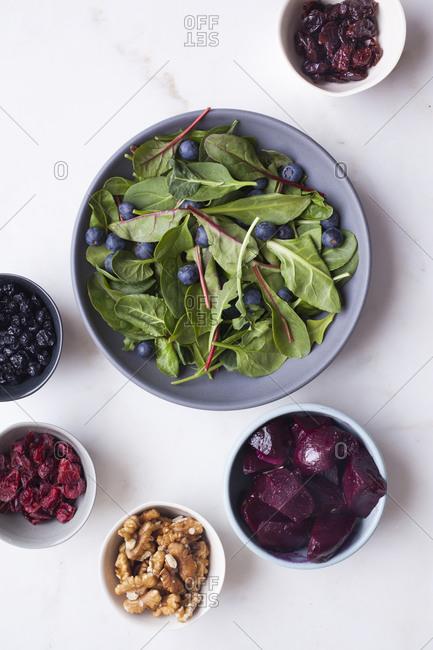 Top view of ingredients of healthy salad