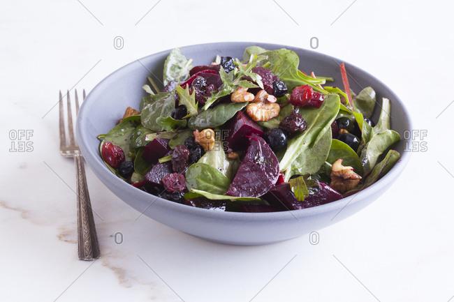 Mixed green salad in bowl