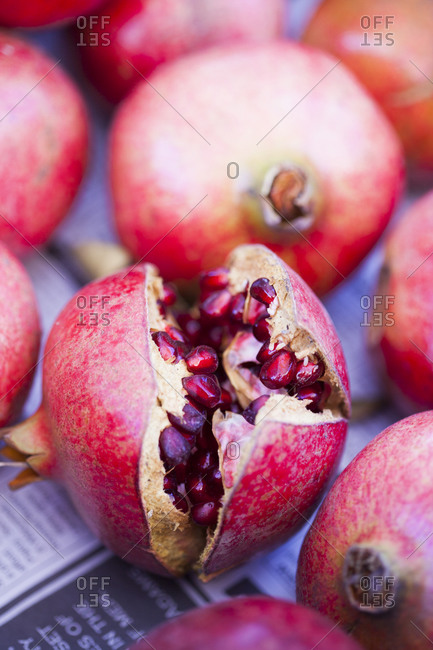 Close up of ripe pomegranates