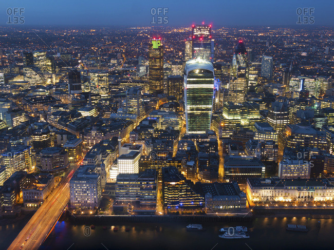 Aerial London Cityscape dominated by Walkie Talkie tower at dusk