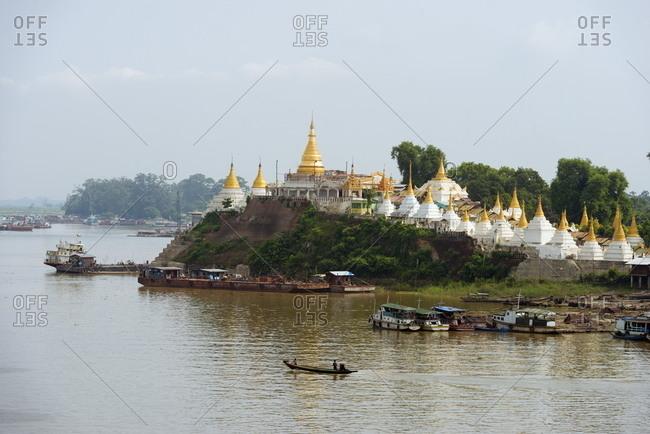 Shwe Kyet Yet temple and Ayeyarwady (Irrawaddy) River, Mandalay, Myanmar