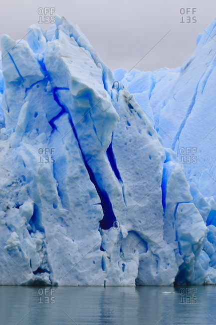 Lake-level view of blue ice at the glacier face, Grey Glacier, Torres del Paine National Park, Patagonia, Chile