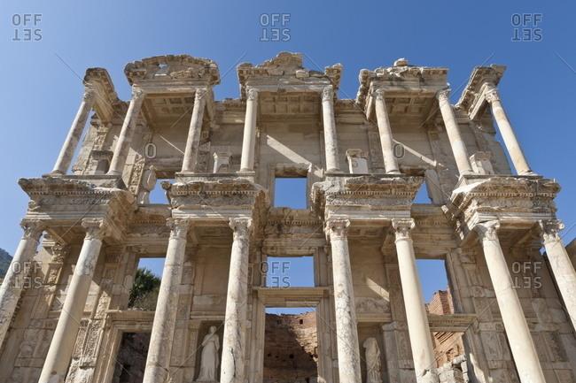 Facade of the Library of Celsus, Roman ruins of ancient Ephesus, near Kusadasi, Anatolia, Turkey