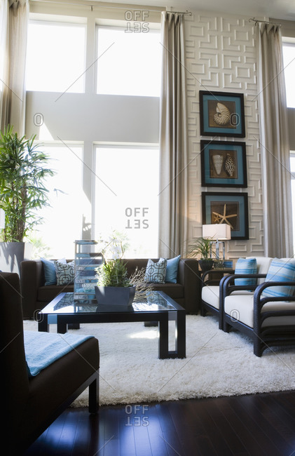 Contemporary loft style living room with area rug