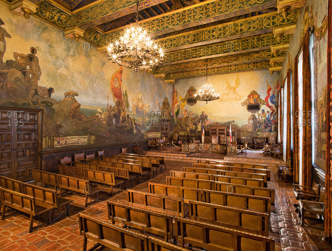 Mural Room Inside Santa Barbara County Courthouse Stock Photo Offset