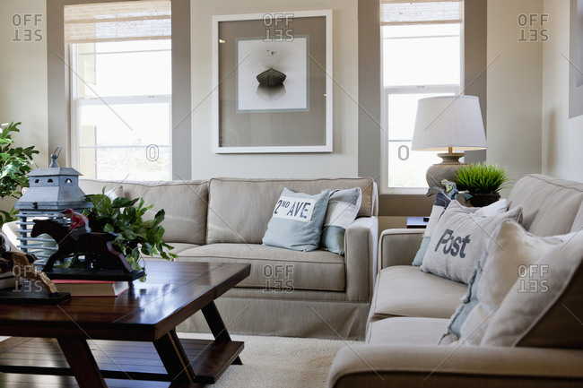 Interior Of Middle Class Living Room Stock Photo Offset