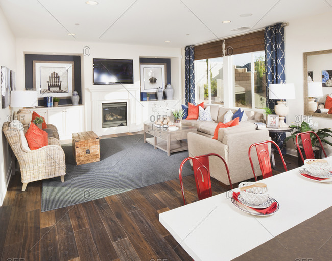 Open plan of living room and dining area