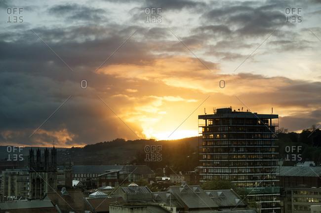 Sunset over the Bristol city skyline, England